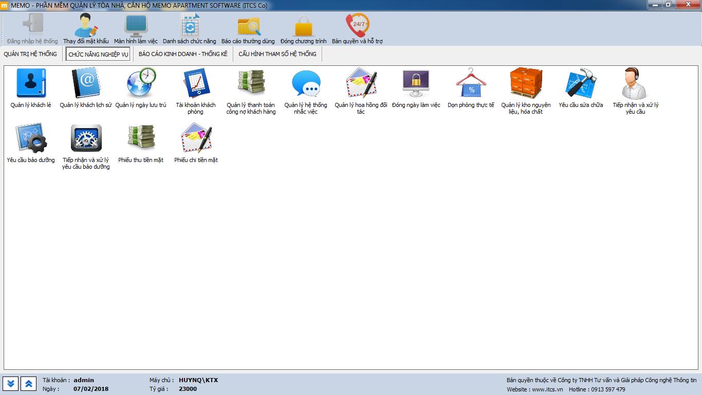phần mềm quản lý ký túc xá MEMO