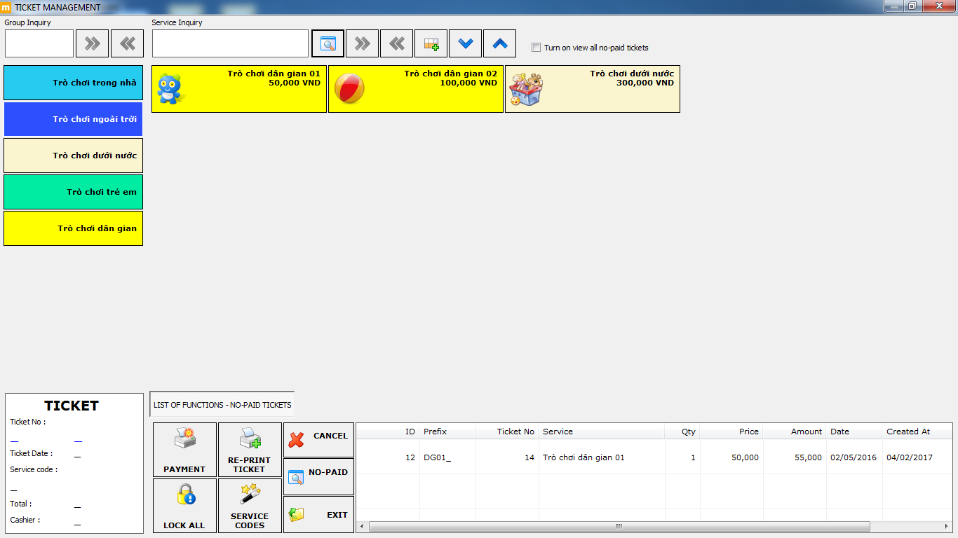 phần mềm bán vé khu vui chơi MEMO